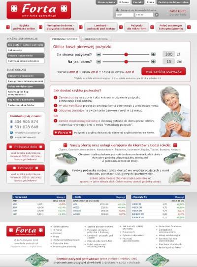 Strona www firmy i system pożyczek online
